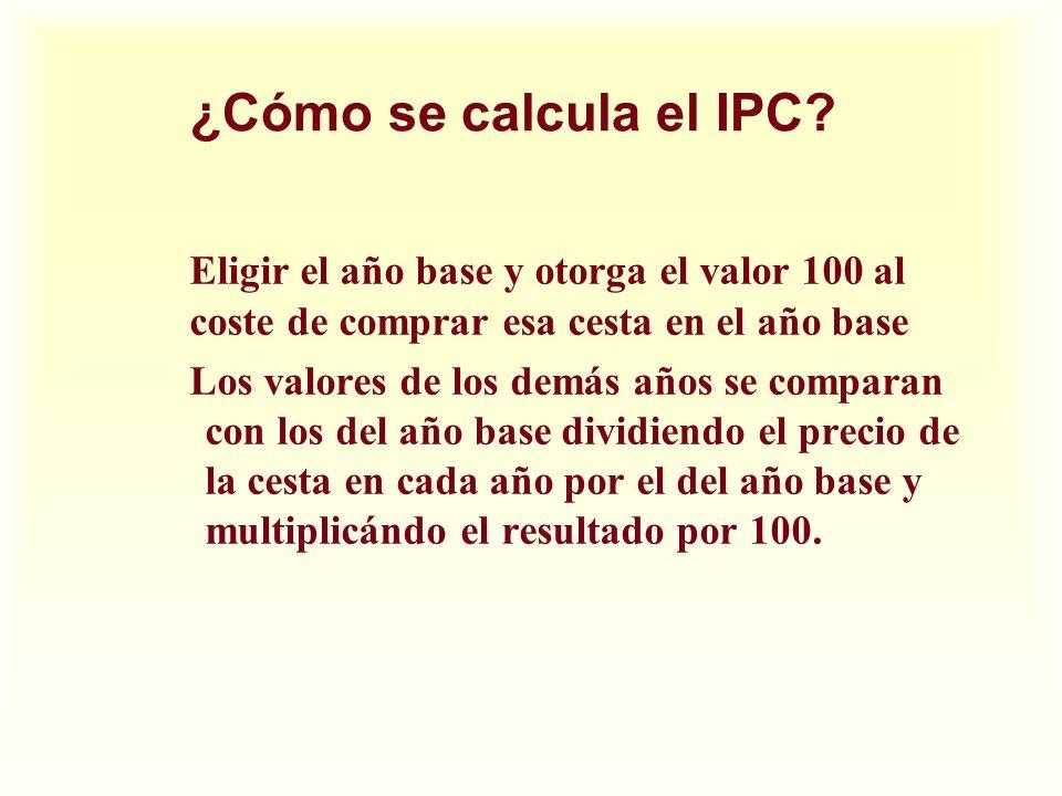 ¿Cómo se calcula el IPC? Eligir el año base y otorga el valor 100 al coste de comprar esa cesta en el año base Los valores de los demás años se compar