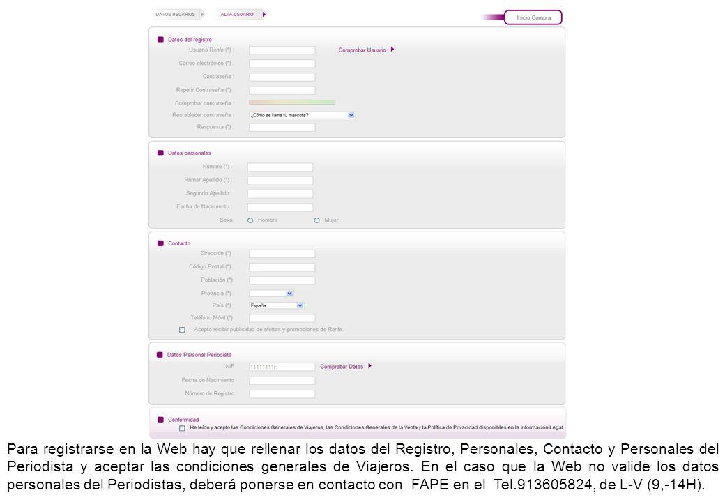 Para registrarse en la Web hay que rellenar los datos del Registro, Personales, Contacto y Personales del Periodista y aceptar las condiciones general