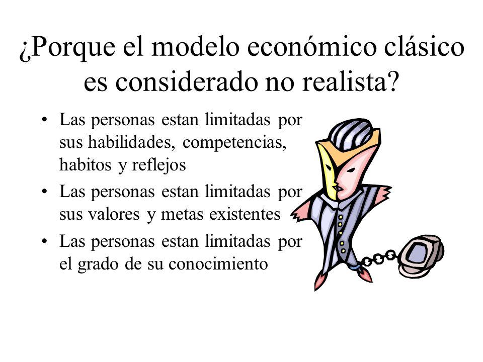 ¿Porque el modelo económico clásico es considerado no realista? Las personas estan limitadas por sus habilidades, competencias, habitos y reflejos Las