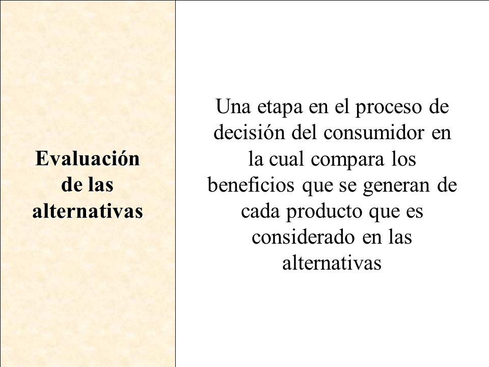 Evaluación de las alternativas Una etapa en el proceso de decisión del consumidor en la cual compara los beneficios que se generan de cada producto qu