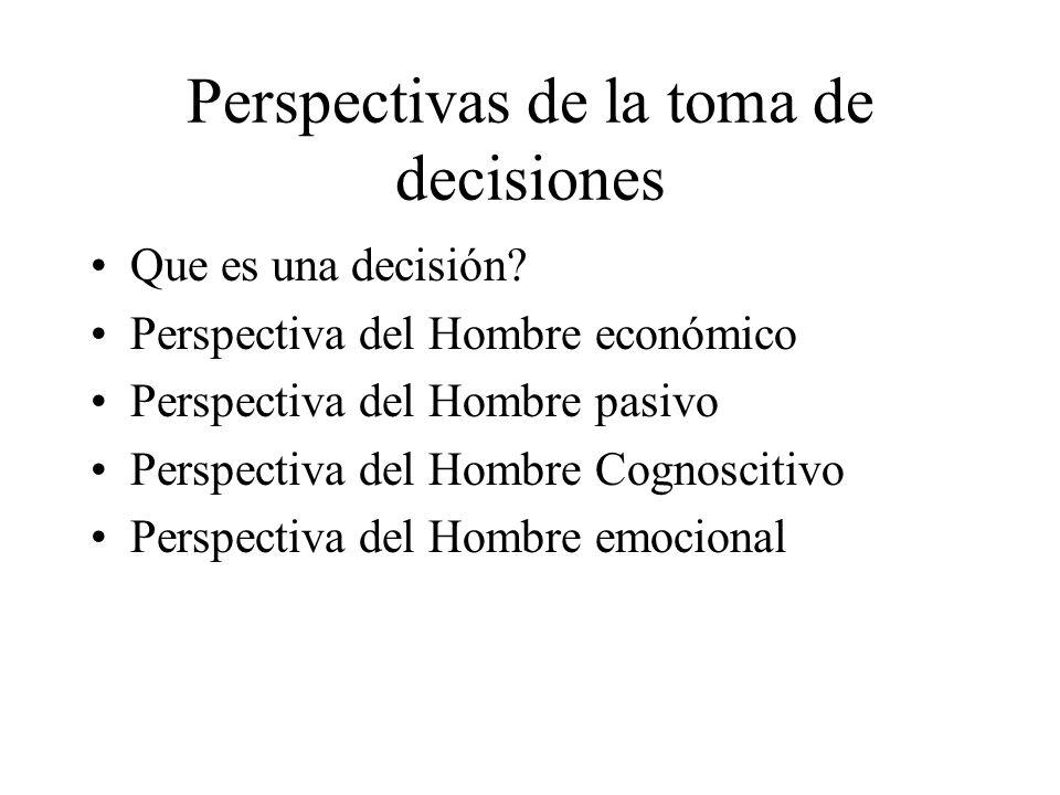 Perspectivas de la toma de decisiones Que es una decisión? Perspectiva del Hombre económico Perspectiva del Hombre pasivo Perspectiva del Hombre Cogno