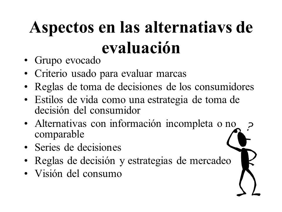 Aspectos en las alternatiavs de evaluación Grupo evocado Criterio usado para evaluar marcas Reglas de toma de decisiones de los consumidores Estilos d