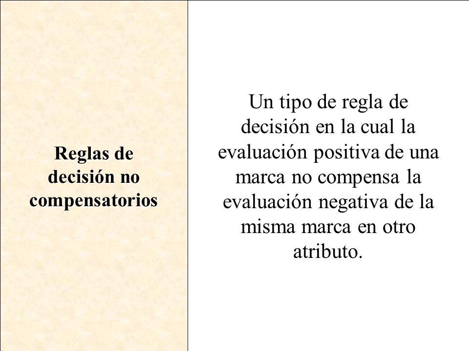 Reglas de decisión no compensatorios Un tipo de regla de decisión en la cual la evaluación positiva de una marca no compensa la evaluación negativa de
