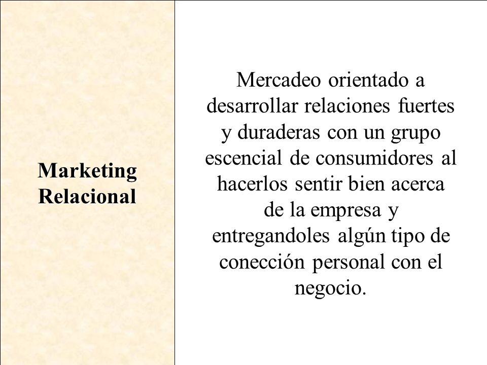Marketing Relacional Mercadeo orientado a desarrollar relaciones fuertes y duraderas con un grupo escencial de consumidores al hacerlos sentir bien ac