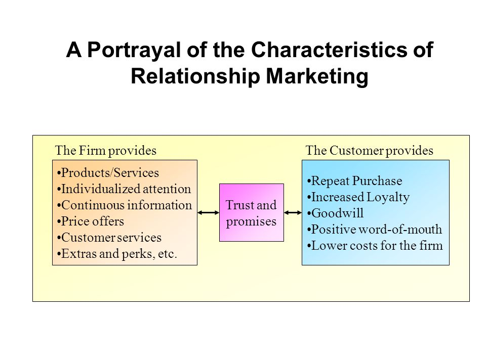 A Portrayal of the Characteristics of Relationship Marketing Products/Services Individualized attention Continuous information Price offers Customer s