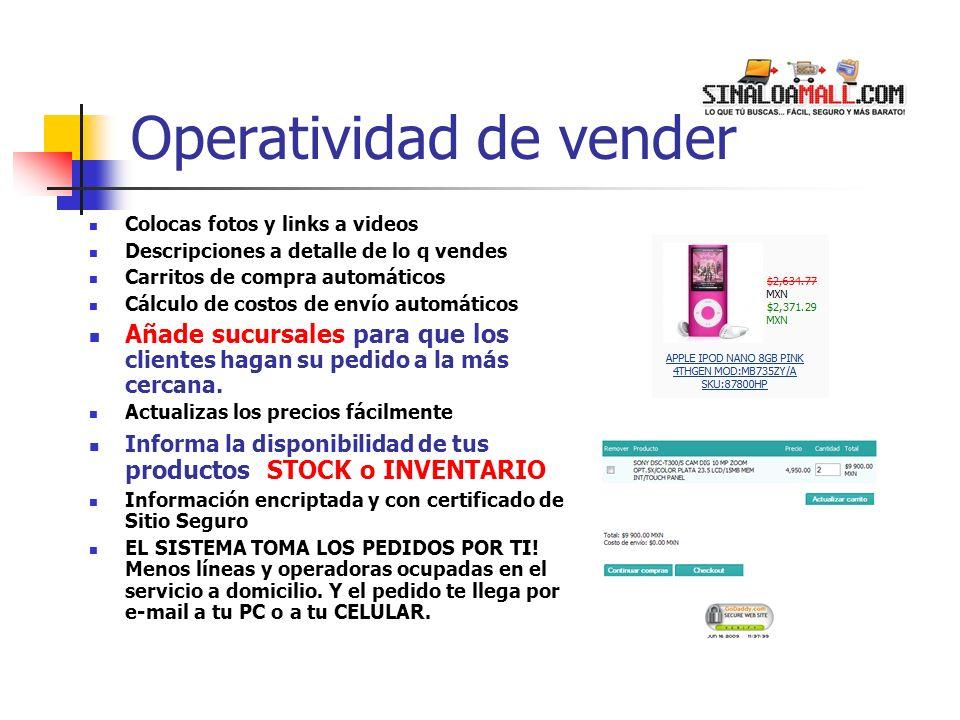 Operatividad de vender Colocas fotos y links a videos Descripciones a detalle de lo q vendes Carritos de compra automáticos Cálculo de costos de envío automáticos Añade sucursales para que los clientes hagan su pedido a la más cercana.