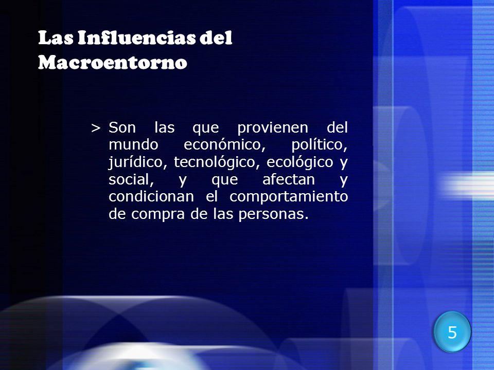 10 Las Influencias del Macroentorno >Son las que provienen del mundo económico, político, jurídico, tecnológico, ecológico y social, y que afectan y c