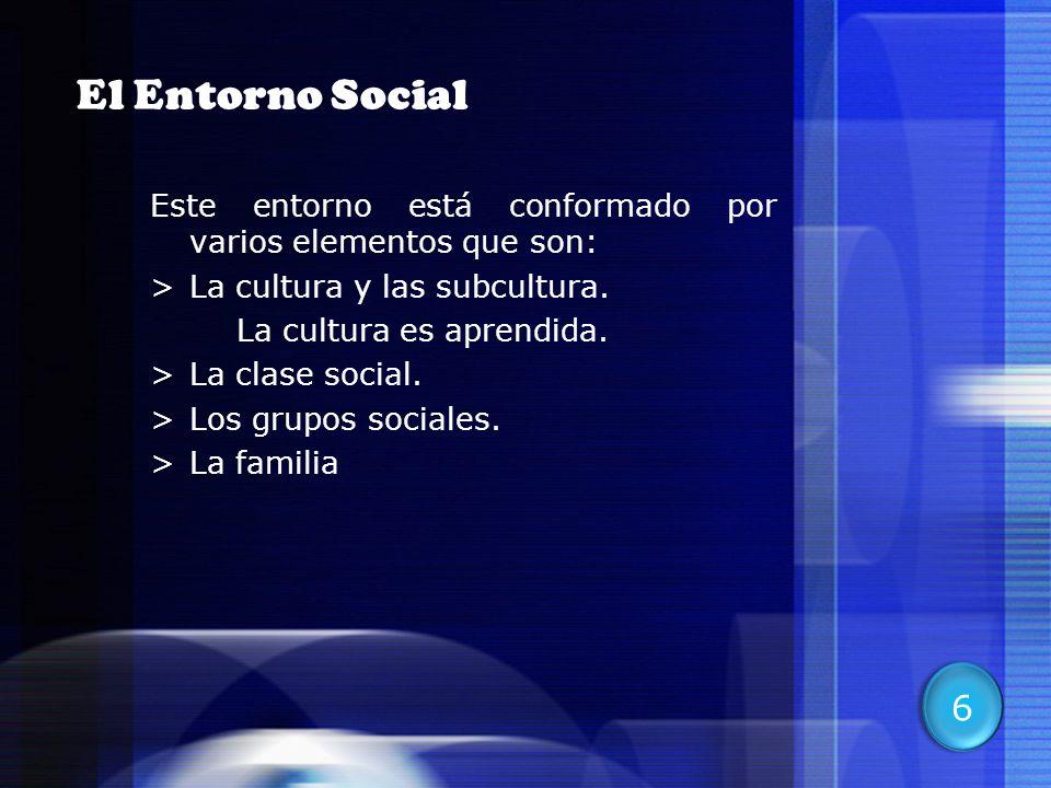 11 El Entorno Social Este entorno está conformado por varios elementos que son: >La cultura y las subcultura. La cultura es aprendida. >La clase socia
