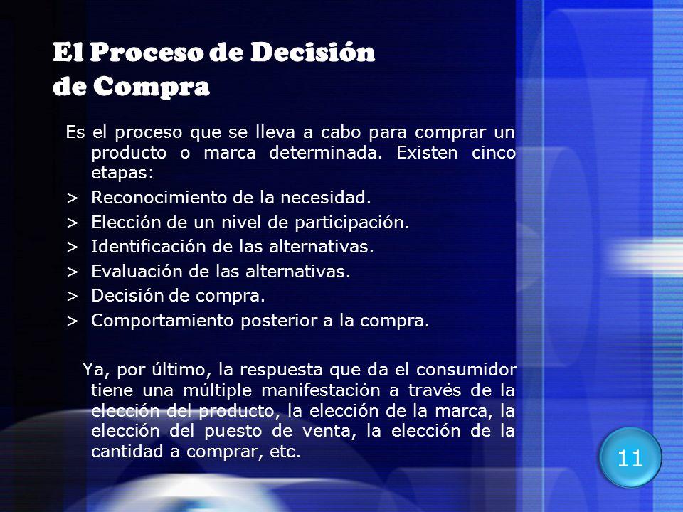 16 El Proceso de Decisión de Compra Es el proceso que se lleva a cabo para comprar un producto o marca determinada. Existen cinco etapas: >Reconocimie