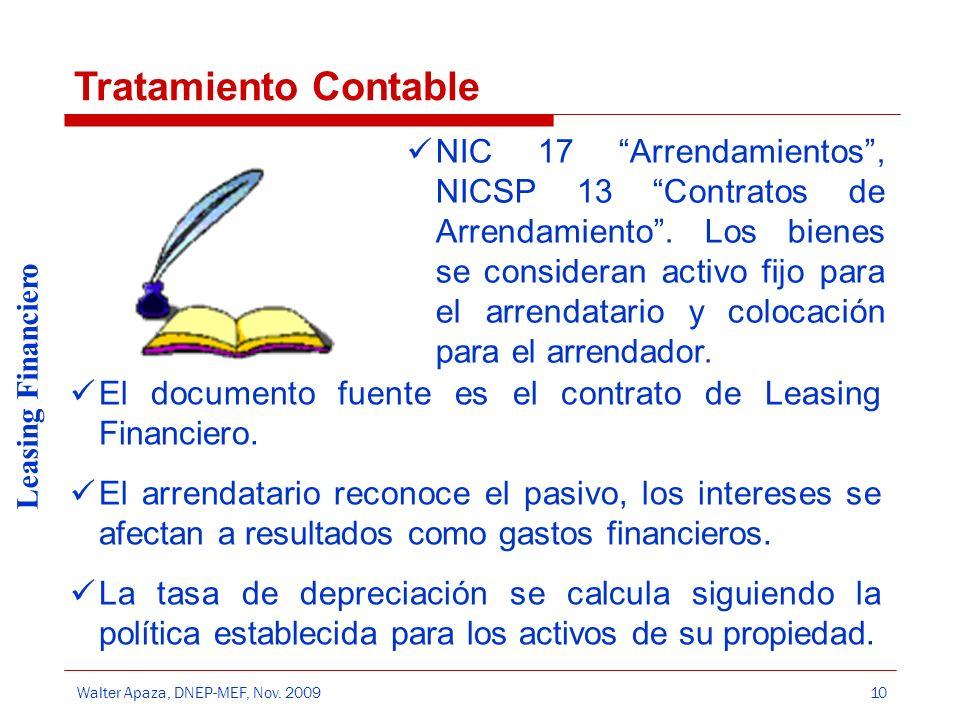 Walter Apaza, DNEP-MEF, Nov. 2009 Leasing Financiero 10 NIC 17 Arrendamientos, NICSP 13 Contratos de Arrendamiento. Los bienes se consideran activo fi