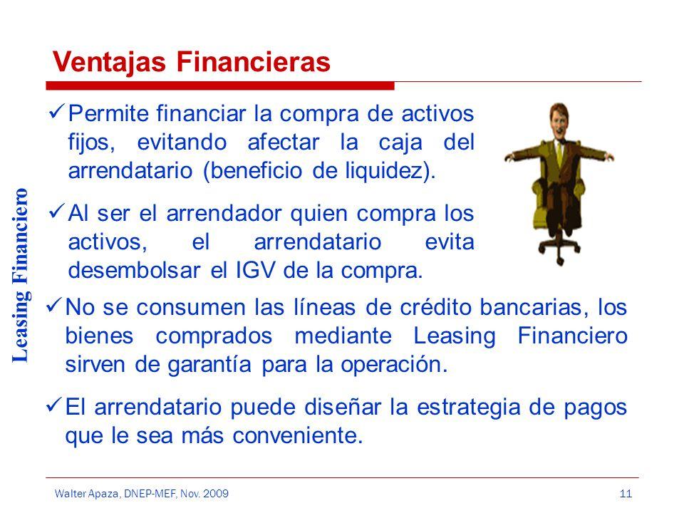 Walter Apaza, DNEP-MEF, Nov. 2009 Leasing Financiero 11 Permite financiar la compra de activos fijos, evitando afectar la caja del arrendatario (benef
