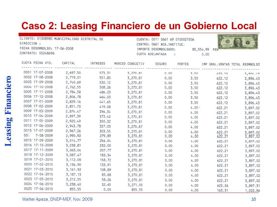 Walter Apaza, DNEP-MEF, Nov. 2009 Leasing Financiero 16 Caso 2: Leasing Financiero de un Gobierno Local