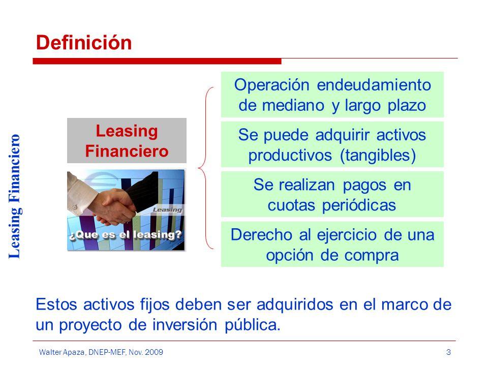 Walter Apaza, DNEP-MEF, Nov. 2009 Leasing Financiero 3 Definición Estos activos fijos deben ser adquiridos en el marco de un proyecto de inversión púb