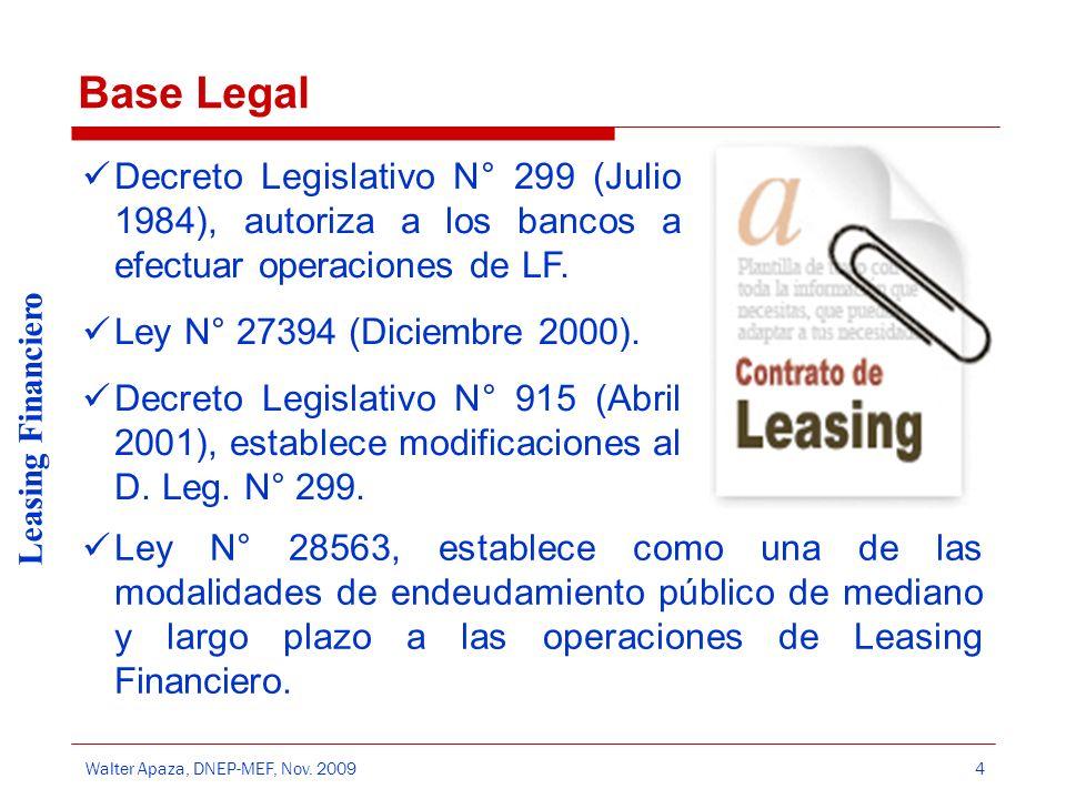 Walter Apaza, DNEP-MEF, Nov. 2009 Leasing Financiero 4 Base Legal Decreto Legislativo N° 299 (Julio 1984), autoriza a los bancos a efectuar operacione