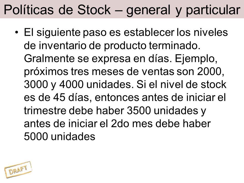 Políticas de Stock – general y particular El siguiente paso es establecer los niveles de inventario de producto terminado.