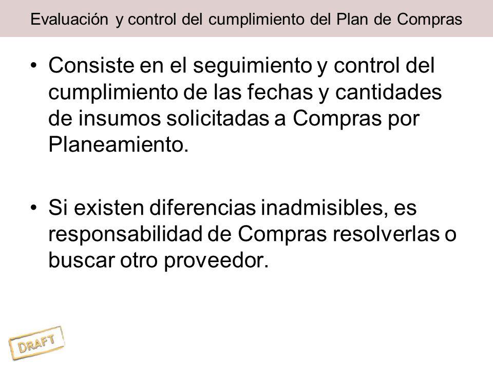 Evaluación y control del cumplimiento del Plan de Compras Consiste en el seguimiento y control del cumplimiento de las fechas y cantidades de insumos solicitadas a Compras por Planeamiento.