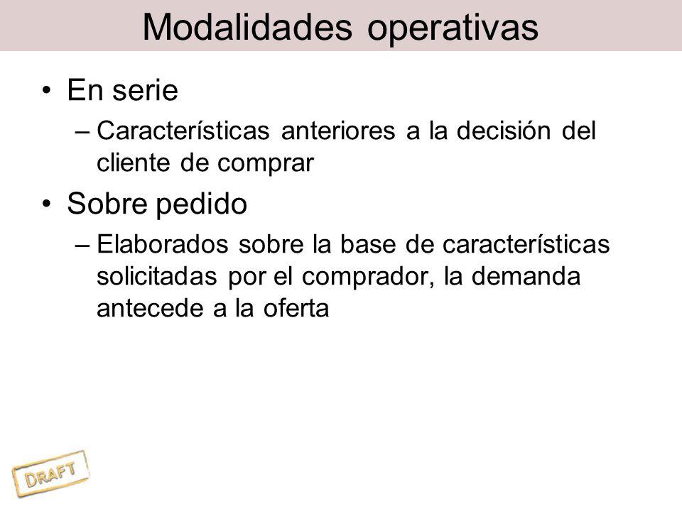 Modalidades operativas En serie –Características anteriores a la decisión del cliente de comprar Sobre pedido –Elaborados sobre la base de características solicitadas por el comprador, la demanda antecede a la oferta