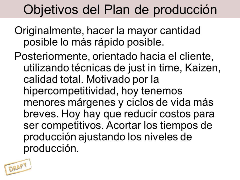 Objetivos del Plan de producción Originalmente, hacer la mayor cantidad posible lo más rápido posible.