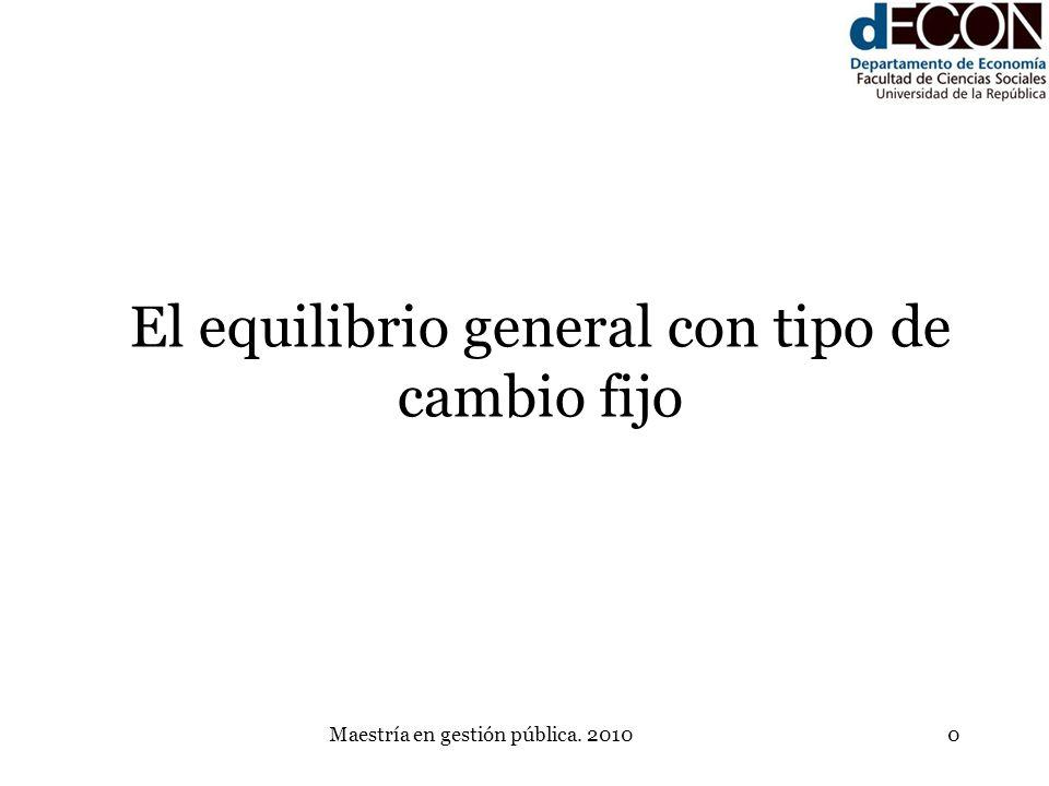 Maestría en gestión pública. 20100 El equilibrio general con tipo de cambio fijo