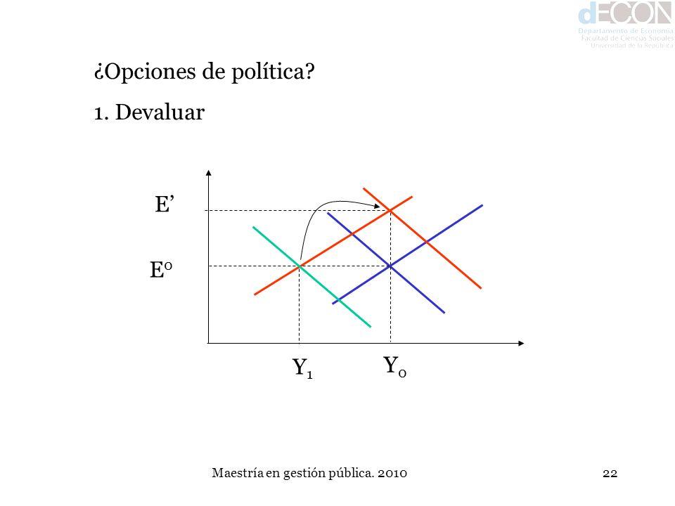 Maestría en gestión pública. 201022 ¿Opciones de política? 1. Devaluar E0E0 Y0Y0 Y1Y1 E