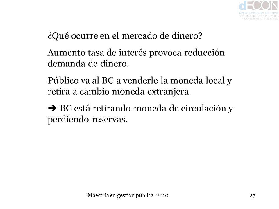 Maestría en gestión pública. 201027 ¿Qué ocurre en el mercado de dinero? Aumento tasa de interés provoca reducción demanda de dinero. Público va al BC