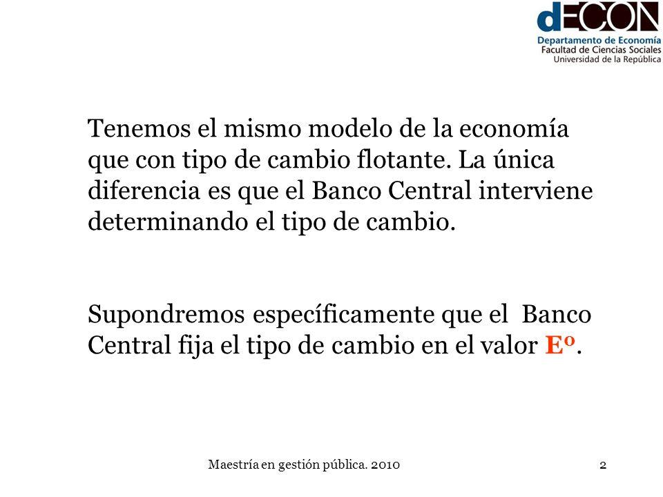 Maestría en gestión pública. 20102 Tenemos el mismo modelo de la economía que con tipo de cambio flotante. La única diferencia es que el Banco Central