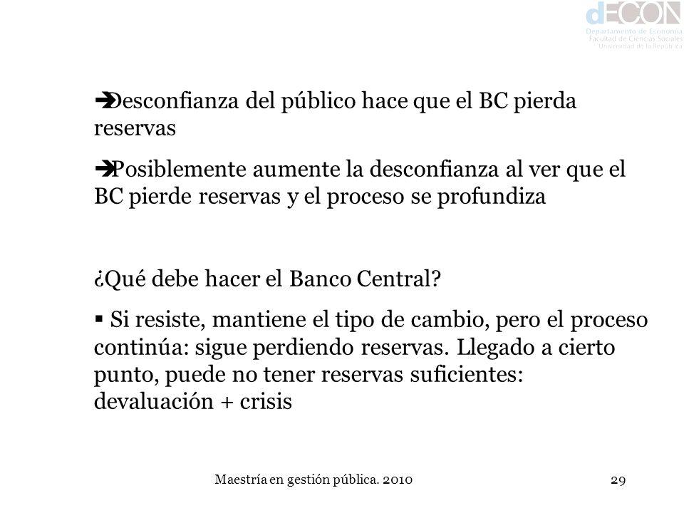 Maestría en gestión pública. 201029 Desconfianza del público hace que el BC pierda reservas Posiblemente aumente la desconfianza al ver que el BC pier