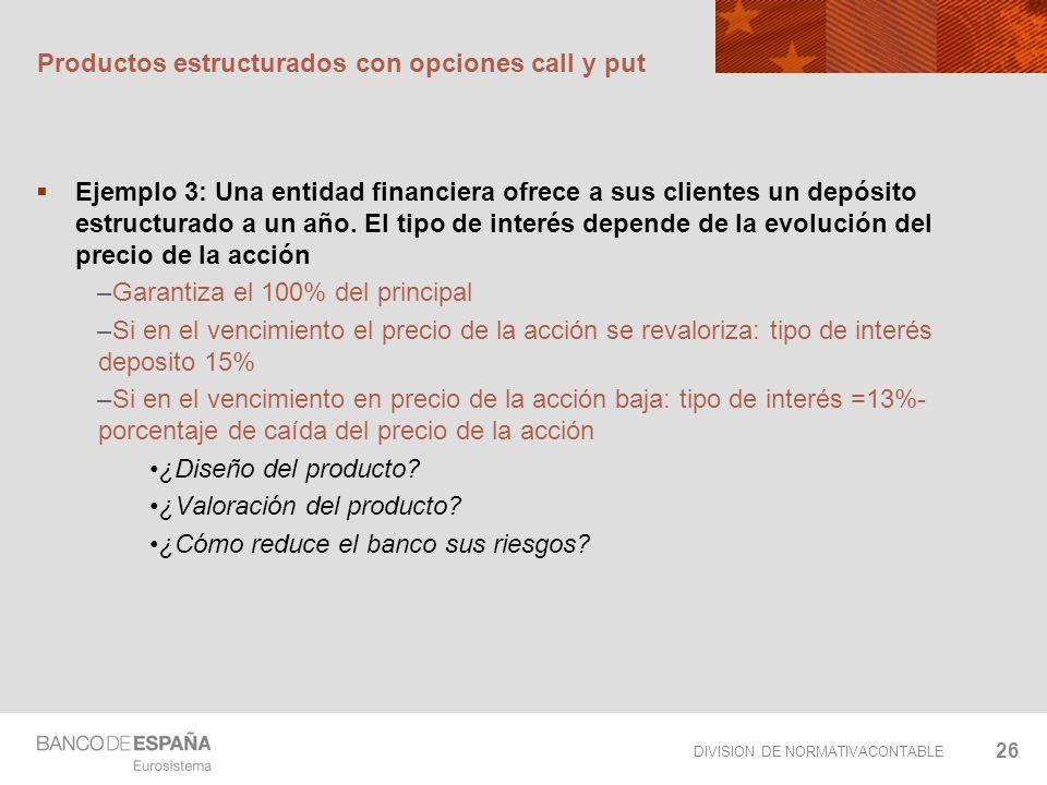 DIVISION DE NORMATIVACONTABLE 26 Productos estructurados con opciones call y put Ejemplo 3: Una entidad financiera ofrece a sus clientes un depósito e