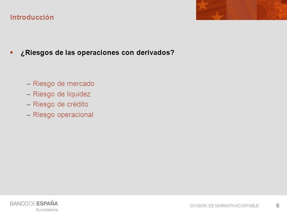 DIVISION DE NORMATIVACONTABLE 6 Introducción ¿Riesgos de las operaciones con derivados? – Riesgo de mercado – Riesgo de liquidez – Riesgo de crédito –