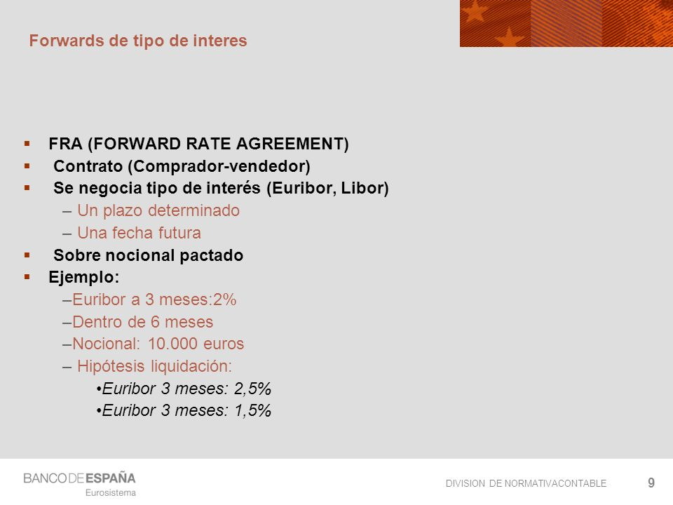 DIVISION DE NORMATIVACONTABLE 9 Forwards de tipo de interes FRA (FORWARD RATE AGREEMENT) Contrato (Comprador-vendedor) Se negocia tipo de interés (Eur