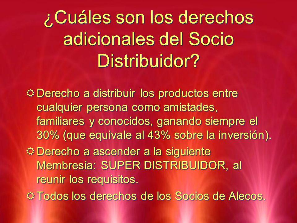¿Cuáles son los derechos adicionales del Socio Distribuidor? Derecho a distribuir los productos entre cualquier persona como amistades, familiares y c