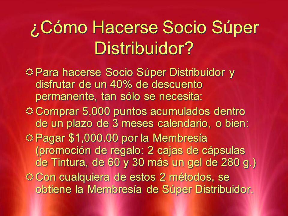 ¿Cómo Hacerse Socio Súper Distribuidor? Para hacerse Socio Súper Distribuidor y disfrutar de un 40% de descuento permanente, tan sólo se necesita: Com