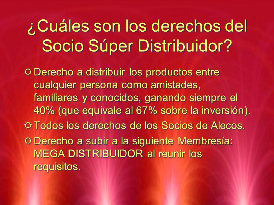 ¿Cuáles son los derechos del Socio Súper Distribuidor? Derecho a distribuir los productos entre cualquier persona como amistades, familiares y conocid