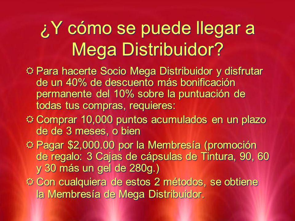 ¿Y cómo se puede llegar a Mega Distribuidor? Para hacerte Socio Mega Distribuidor y disfrutar de un 40% de descuento más bonificación permanente del 1