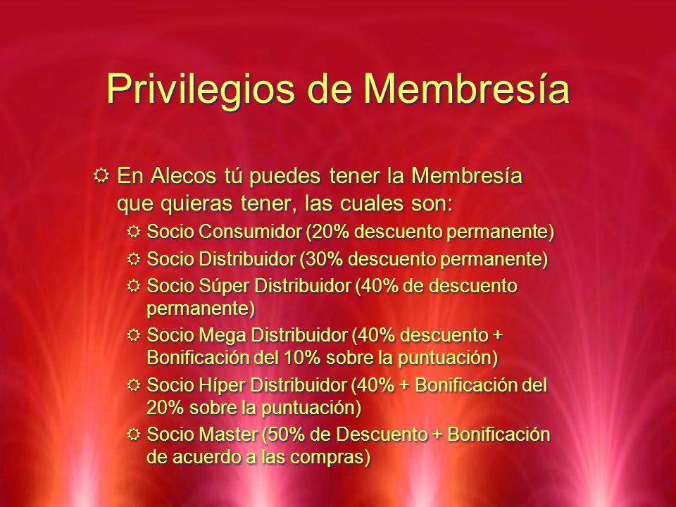 Privilegios de Membresía En Alecos tú puedes tener la Membresía que quieras tener, las cuales son: Socio Consumidor (20% descuento permanente) Socio D