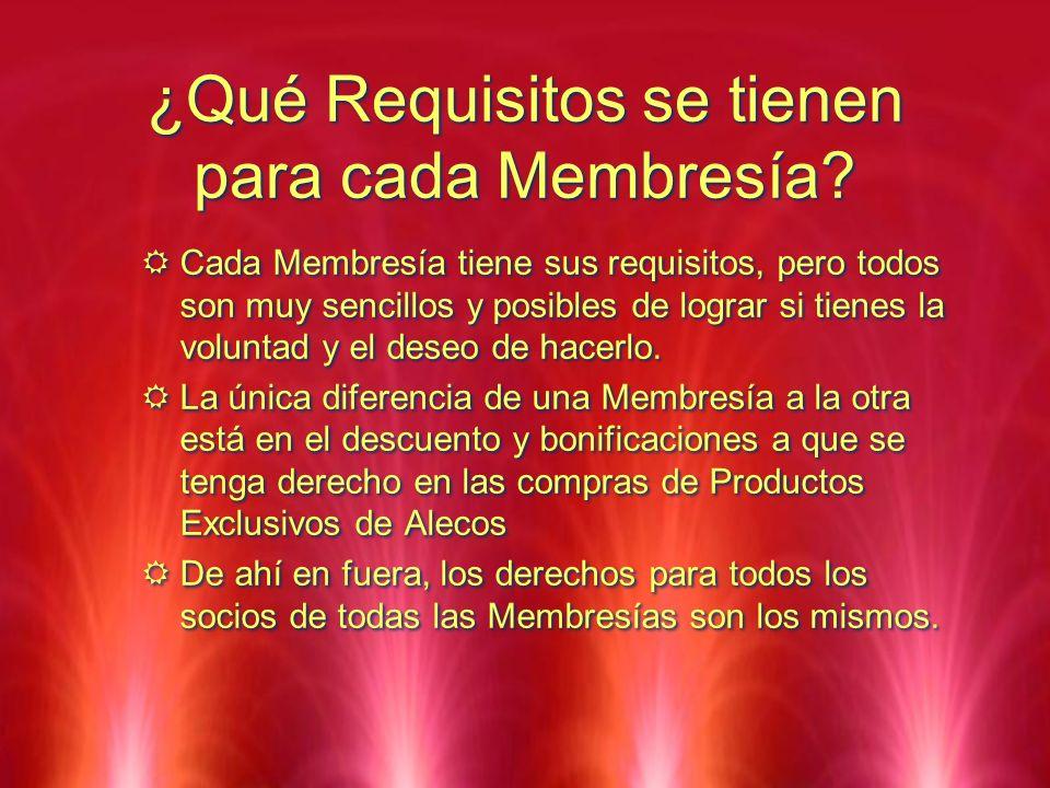 ¿Qué Requisitos se tienen para cada Membresía? Cada Membresía tiene sus requisitos, pero todos son muy sencillos y posibles de lograr si tienes la vol
