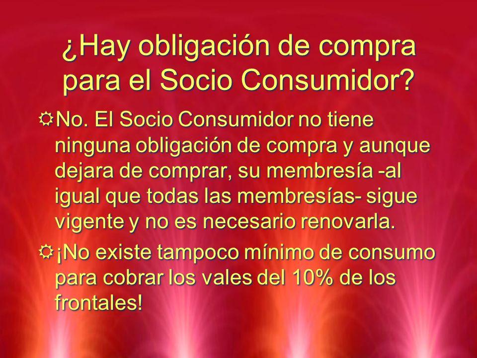 ¿Hay obligación de compra para el Socio Consumidor? No. El Socio Consumidor no tiene ninguna obligación de compra y aunque dejara de comprar, su membr