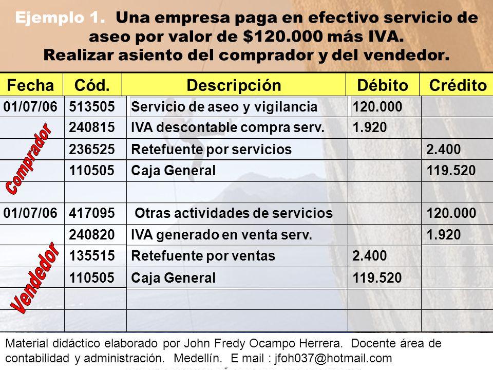 Ejemplo 1.Una empresa paga en efectivo servicio de aseo por valor de $120.000 más IVA.