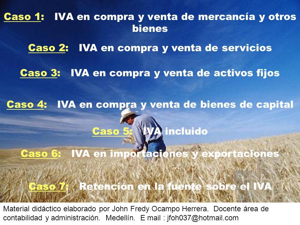 Caso 1: IVA en compra y venta de mercancía y otros bienes Caso 2: IVA en compra y venta de servicios Caso 3: IVA en compra y venta de activos fijos Caso 4: IVA en compra y venta de bienes de capital Caso 6: IVA en importaciones y exportaciones Material didáctico elaborado por John Fredy Ocampo Herrera.