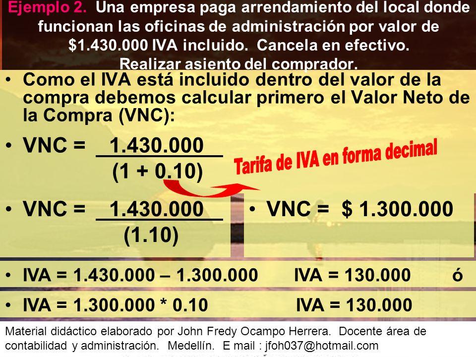 Como el IVA está incluido dentro del valor de la compra debemos calcular primero el Valor Neto de la Compra (VNC): Ejemplo 2.