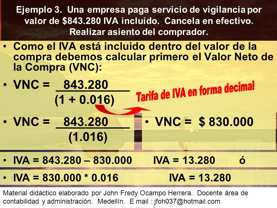 Como el IVA está incluido dentro del valor de la compra debemos calcular primero el Valor Neto de la Compra (VNC): Ejemplo 3.
