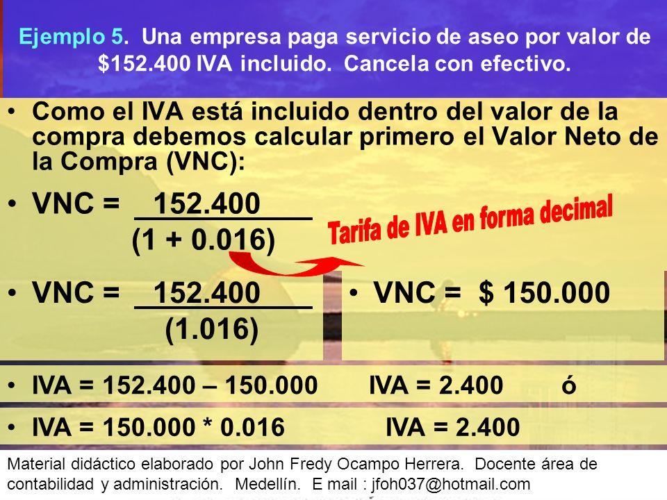Como el IVA está incluido dentro del valor de la compra debemos calcular primero el Valor Neto de la Compra (VNC): Ejemplo 5.