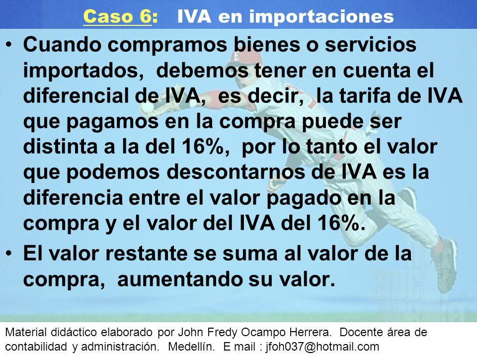 Cuando compramos bienes o servicios importados, debemos tener en cuenta el diferencial de IVA, es decir, la tarifa de IVA que pagamos en la compra puede ser distinta a la del 16%, por lo tanto el valor que podemos descontarnos de IVA es la diferencia entre el valor pagado en la compra y el valor del IVA del 16%.