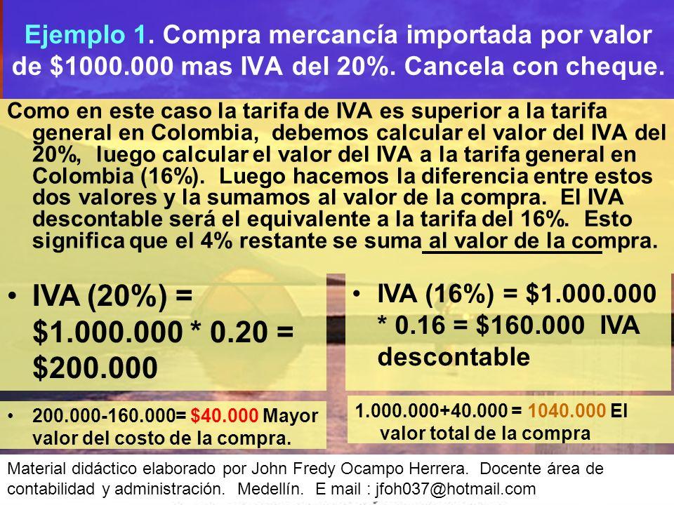 Como en este caso la tarifa de IVA es superior a la tarifa general en Colombia, debemos calcular el valor del IVA del 20%, luego calcular el valor del IVA a la tarifa general en Colombia (16%).