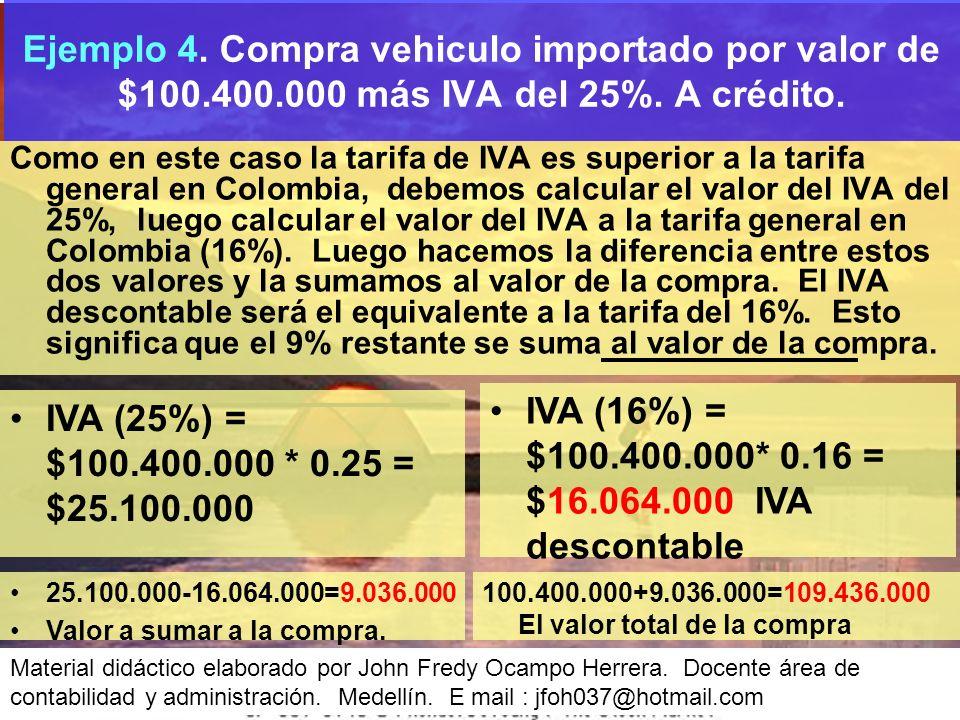 Como en este caso la tarifa de IVA es superior a la tarifa general en Colombia, debemos calcular el valor del IVA del 25%, luego calcular el valor del IVA a la tarifa general en Colombia (16%).