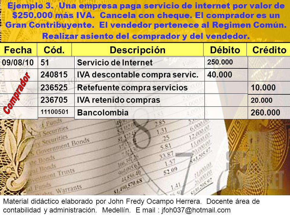 Ejemplo 3.Una empresa paga servicio de internet por valor de $250.000 más IVA.