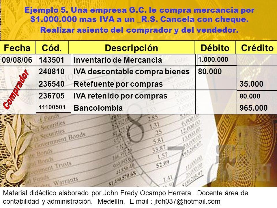 Ejemplo 5.Una empresa G.C. le compra mercancia por $1.000.000 mas IVA a un _R.S.