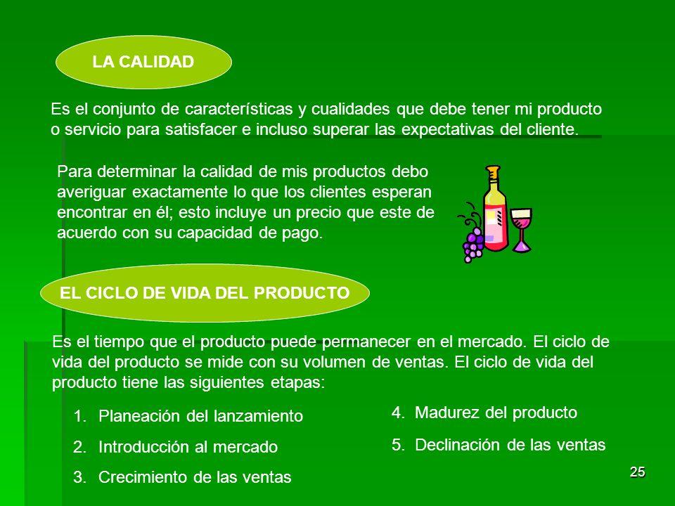 24 LOS SERVICIOS ADICIONALES Hay productos que requieren una serie de servicios complementarios para el cliente que los compra: Garantía Instrucciones