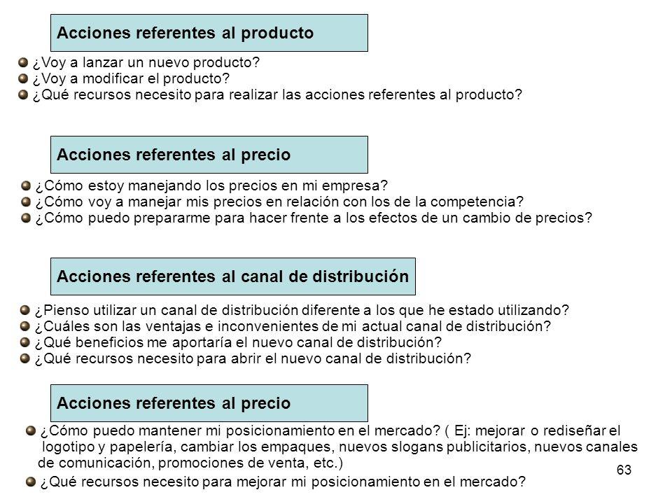 62 El plan operativo de mercadeo: Para elaborar el plan operativo de mercadeo respondo a las siguientes preguntas: ¿Cuáles son las actividades concret