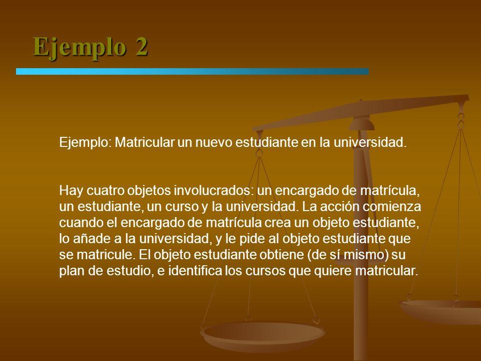 Ejemplo 2 Ejemplo: Matricular un nuevo estudiante en la universidad. Hay cuatro objetos involucrados: un encargado de matrícula, un estudiante, un cur